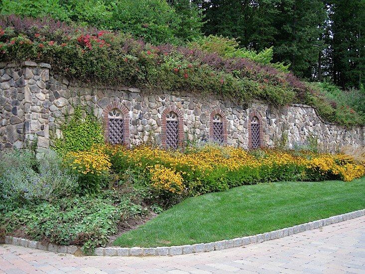 brick wall - stone wall - landscaping