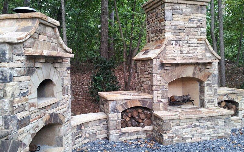 outdoor stone fireplace - stone masonry