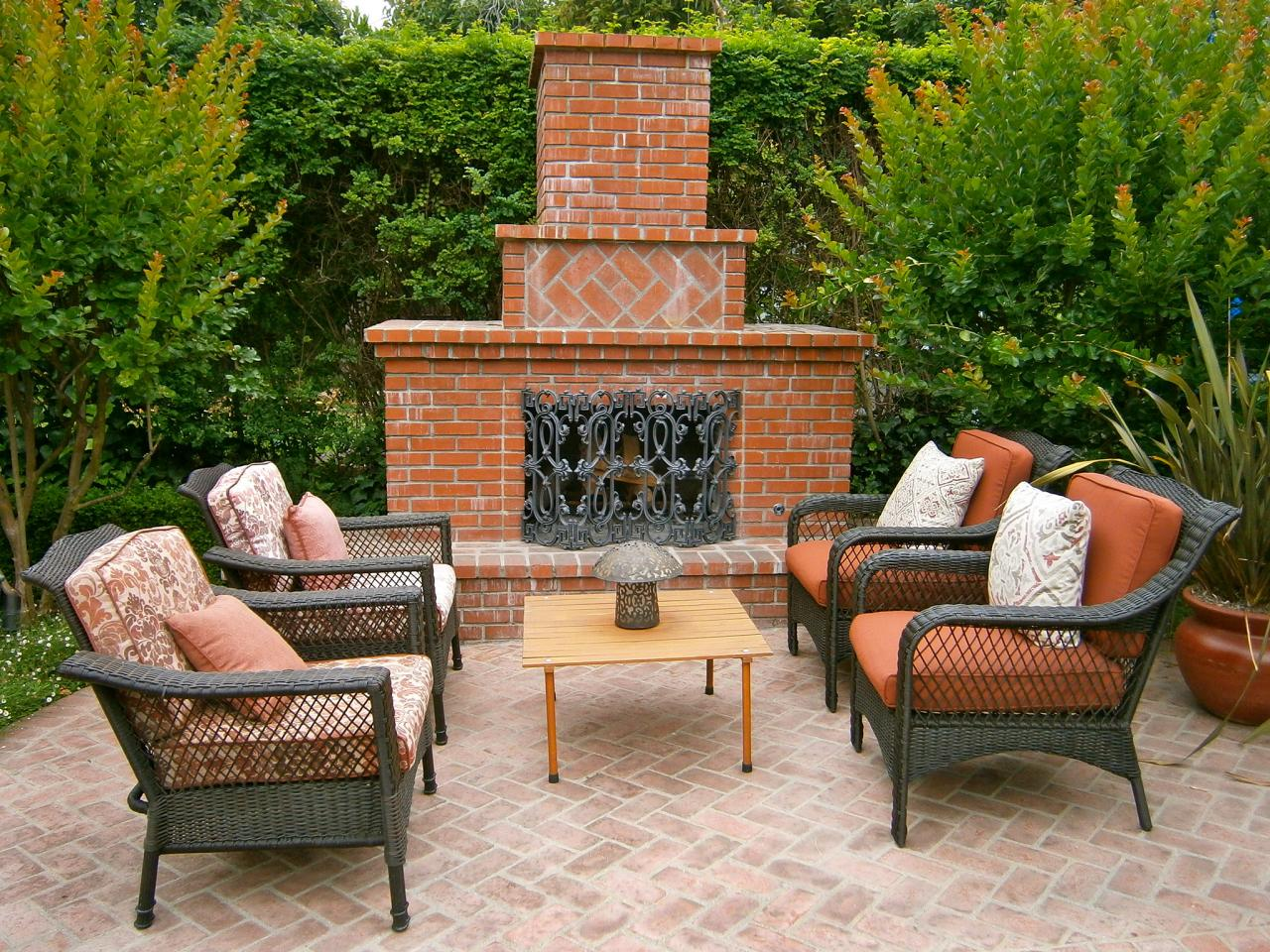 brick masonry - outdoor brick fireplace