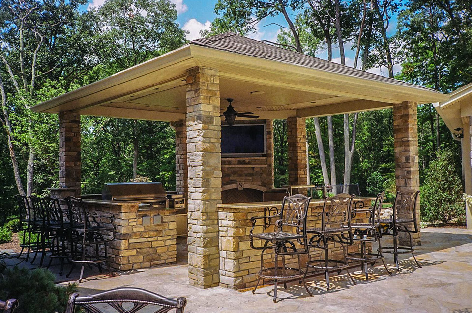 stone masonry - stone outdoor kitchen